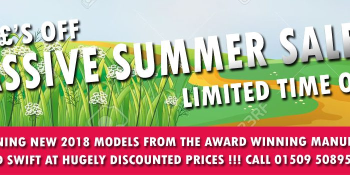 MASSIVE SUMMER SALE - ALL REMAINING NEW 2018 MODELS FROM THE AWARD WINNING MANUFACTURERS OF BAILEY AND SWIFT AT HUGELY DISCOUNTED PRICES. SAVE £000'S ON LIST PRICES AND GET A NEW VAN AT A BARGAIN PRICE !!! RING THE SALES HOTLINE ON 01509 508951 FOR THE BEST DEALS AROUND LIMITED PERIOD ONLY AND WHILE STOCKS LAST.